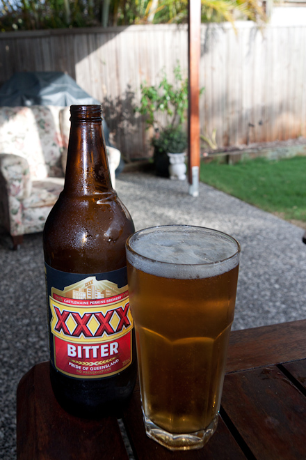 XXXX Bitter in a tall glass.