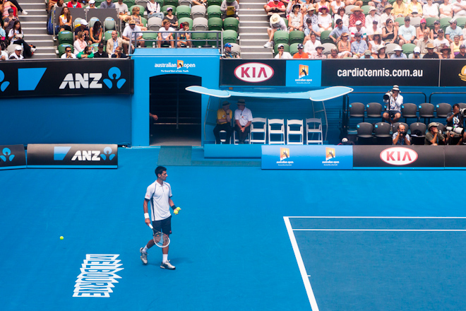 Djokovic with two balls at once.. cheating!</p> <p>This was the moment I realised something amazing about tennis balls.</p> <p>If you put a second tennis ball up your underwear during backyard cricket you can quickly continue the game when the first ball you bowl disappears over the fence.