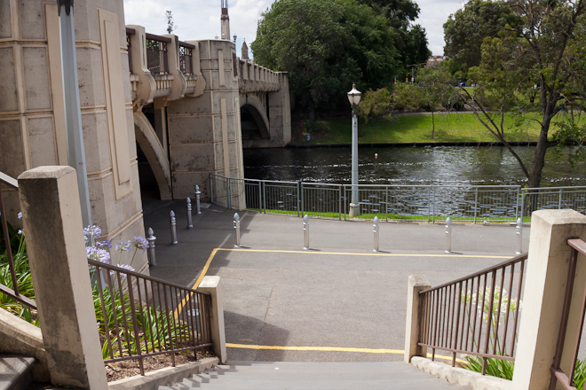 After crossing the water it was down the stairs and under the bridge and along the Torrens the rest of the way to North Terrace.