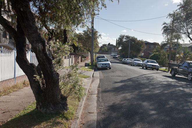 This is Beronga Avenue. You can tell it's a typical Sydney suburbs street because A) it looks like someone's hosting a party (but in reality everyone just has more cars than driveways) and B) There's a discarded TV by the kerb.