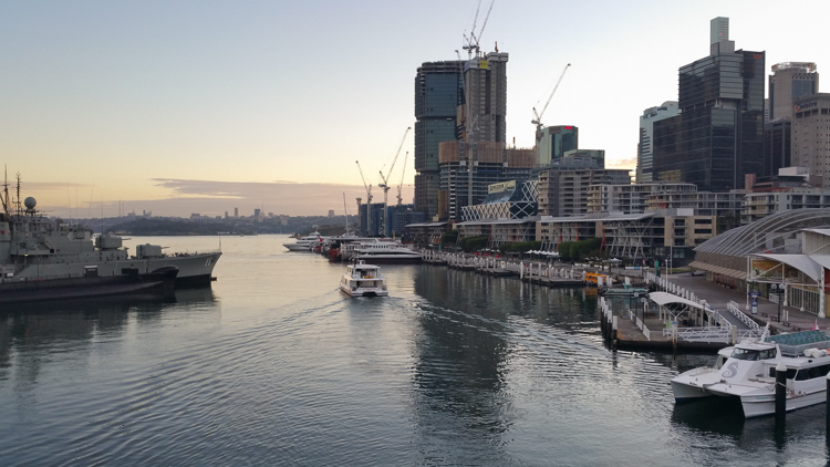 The earliest I've ever been in Darling Harbour.
