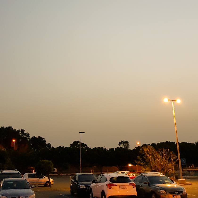 Post-Sunset light in a car park