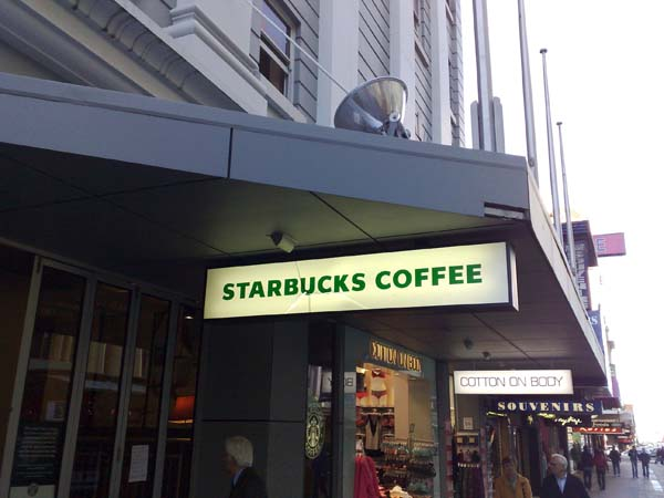 Starbucks Rundle Mall, it looks a bit dilapidated. I mean, looked.