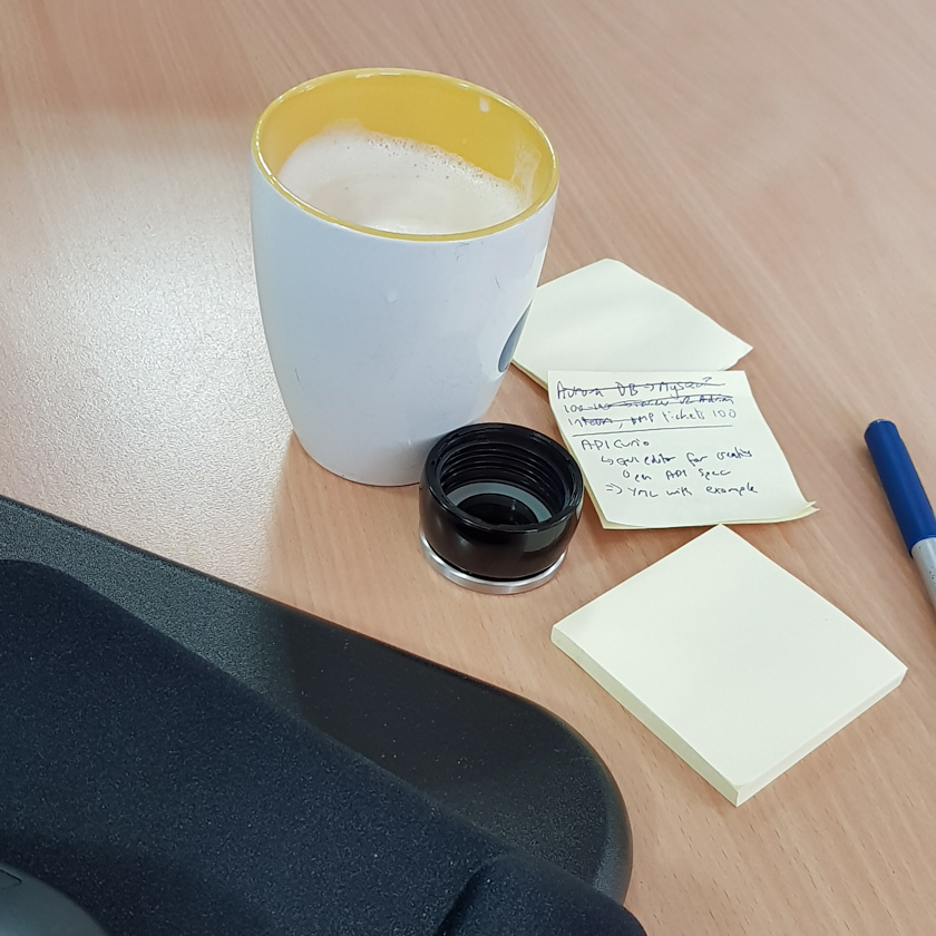 A coffee cup on a desk next to some post its.