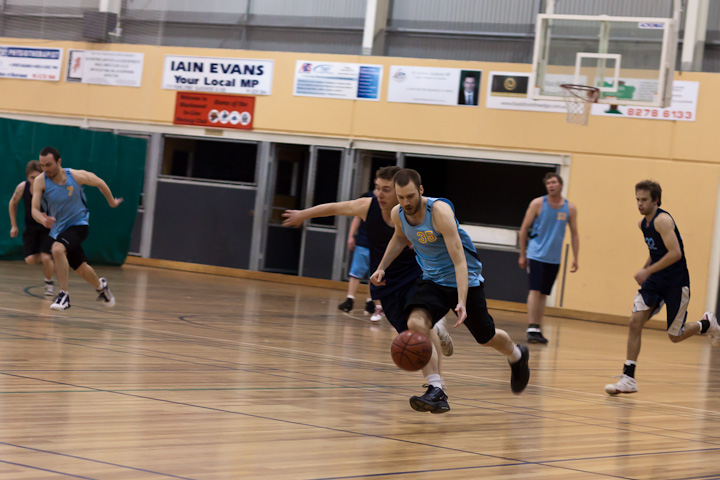 TBA (in light blue).</p> <p>Scott dribbling the ball at a fast pace towards the basket.