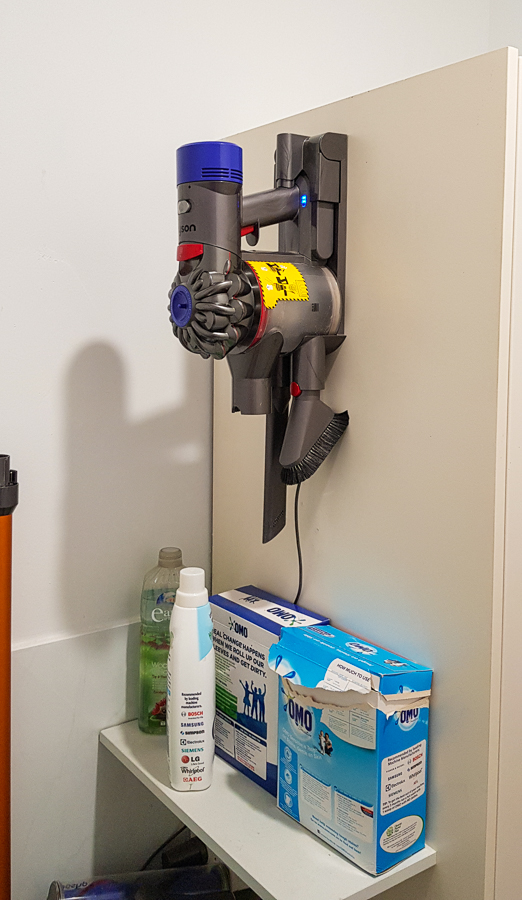 I set up a place to mount my vacuum cleaner and charge it.