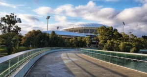 Adelaide Oval and the empty footbridge.